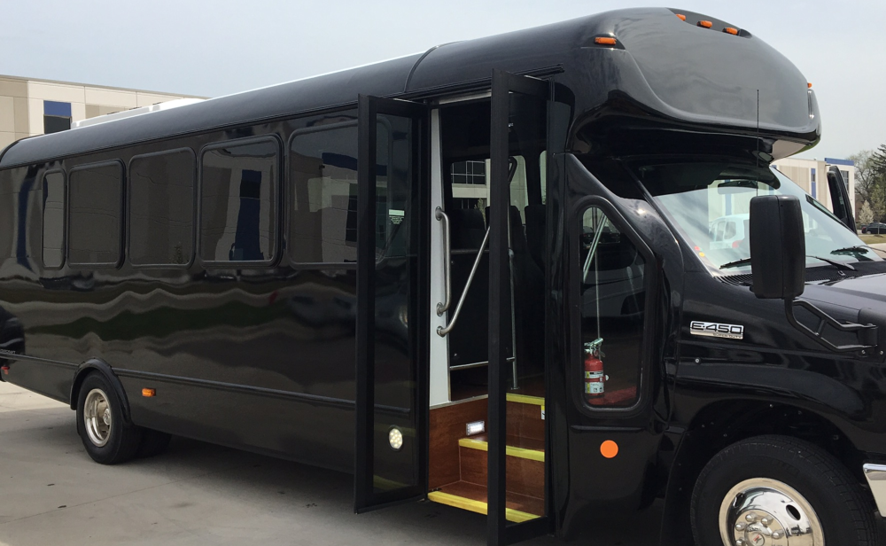 Shuttle bus used for airport shuttle service, group outings, parties, events, and other special occasions.