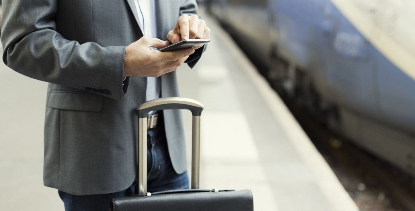 A business client waiting for airport transportation or an airport shuttle for personal or business travel